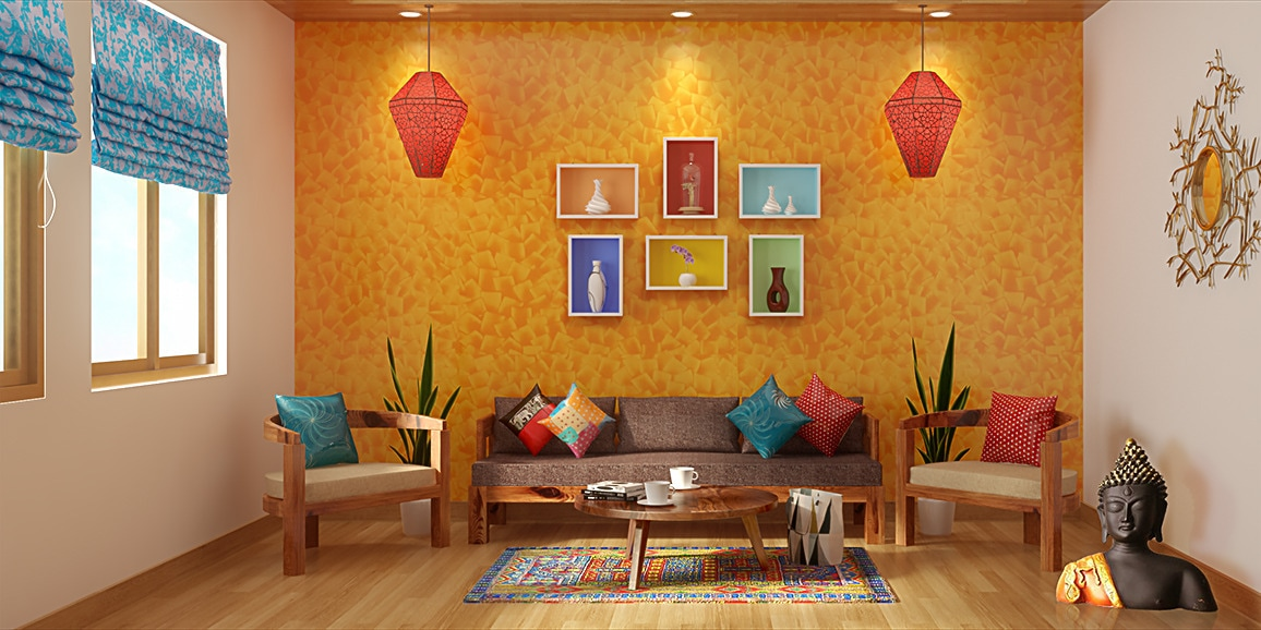 Indian ethnic living room designs online folk lore design for Indian traditional interior design ideas