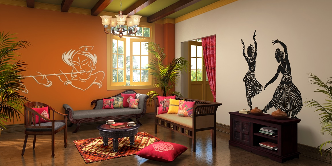 Indian ethnic living room designs online indian jewel for Ethnic home designs