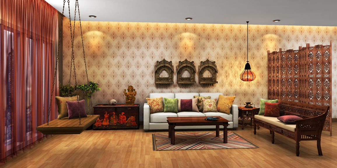 Indian Ethnic Living Room designs Online: Moghul Times ...