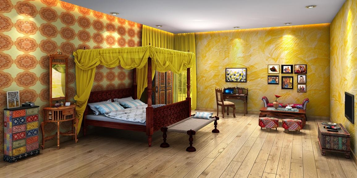 Indian Ethnic Bedroom Designs Online Traditional Fusion Design - Traditional indian bedroom designs