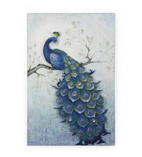 Blue Polyresin Peacock Wall Art By @ Home