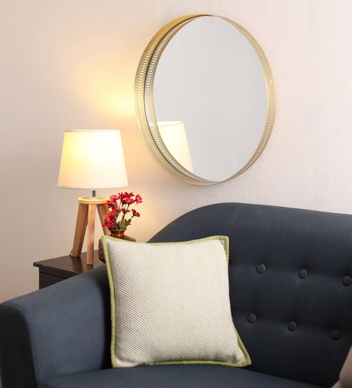ebd9190ec71 Buy Gold Metal Jharokha Decorative Mirror by   Home Online - Contemporary  Mirrors - Furniture Accents - Furniture - Pepperfry Product