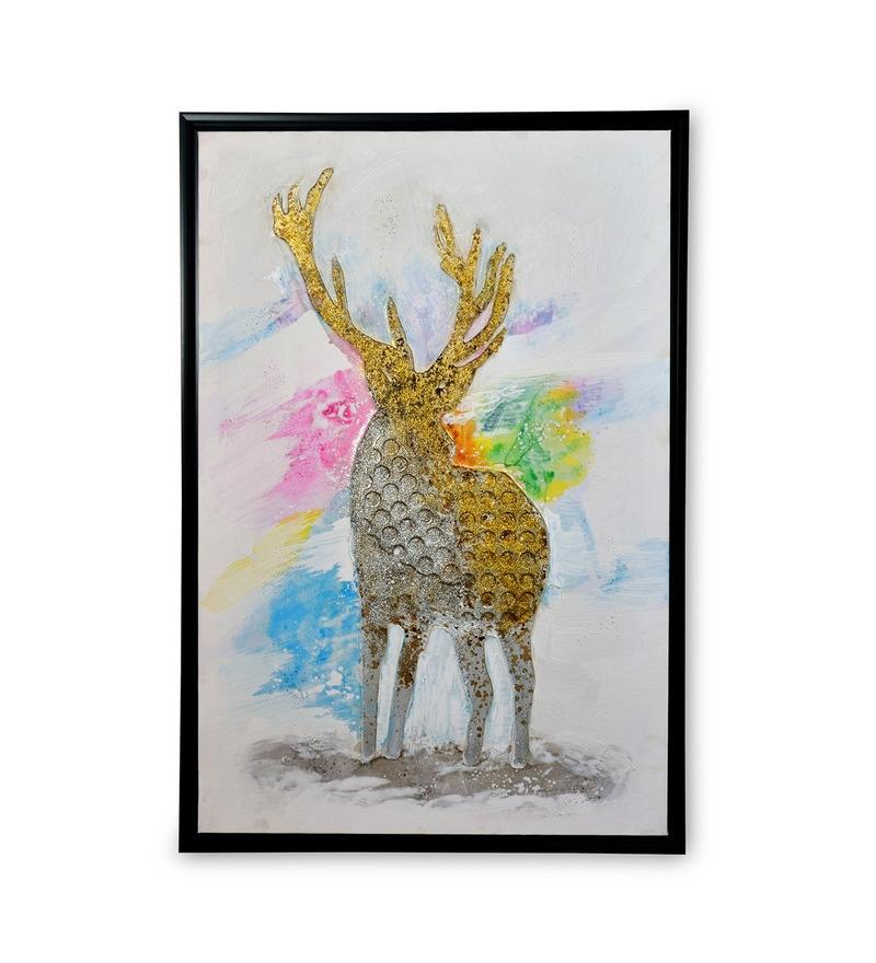 Canvas & MDF 23.6 x 1.2 x 35.4 Inch Urban Deer Framed Art Print by @ Home