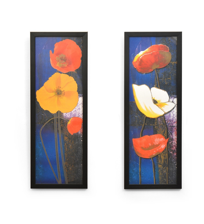 Canvas & MDF 6.6 x 0.8 x 18.3 Inch Floral Framed Art Panel - Set of 2 by @ Home