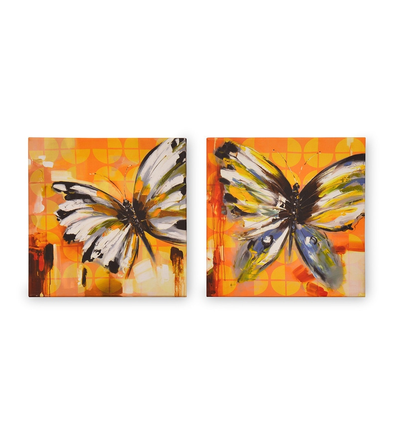 Canvas & MDF 7.9 x 1.2 x 7.9 Inch Urban Butterflies Framed Art Panel - Set of 2 by @ Home
