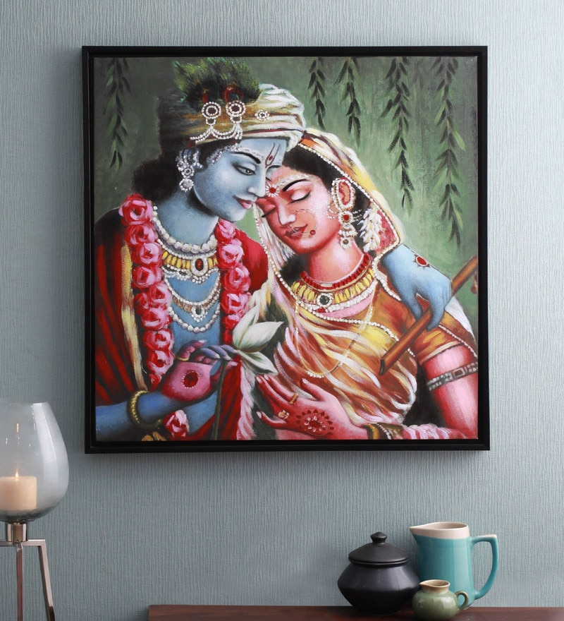 Canvas & Wood 33.5 x 1.6 x 33.5 Inch Radha Krishna Religious Framed Painting by @ Home