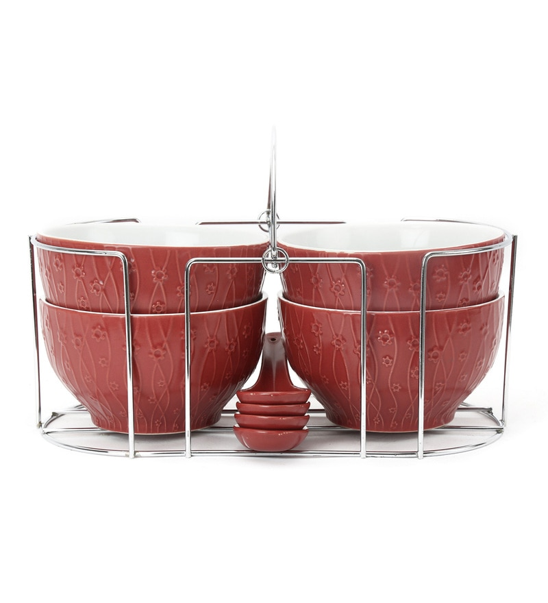 @ Home Maroon Stoneware Soup Bowls - Set of 4