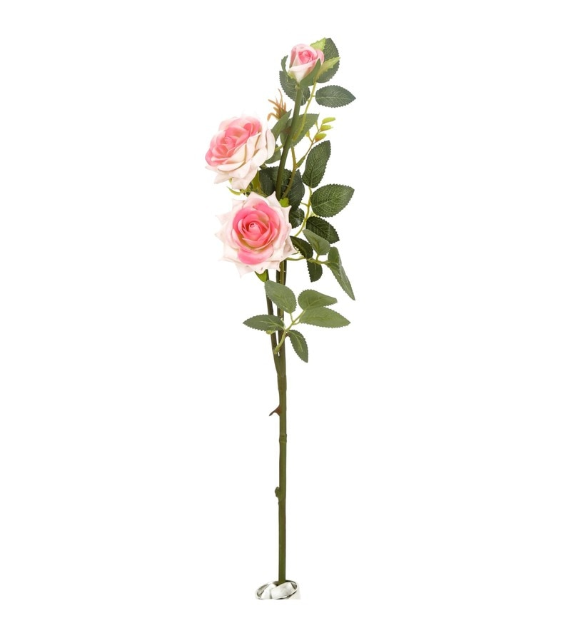 Pink Plastic & Synthetic Fabric Bush Artificial Flowers by @ Home