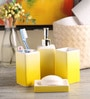 @ Home Yellow Porcelain Bone China Bath Accessories - Set of 4