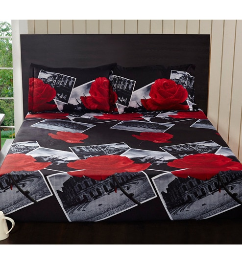 Home Eleganza Rose Double Bedsheet Set By At Home Online Bed Sheets - Geometrical-shapes-on-bedding