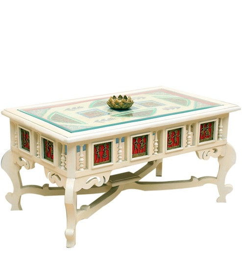 Teak Wood Centre Coffee Table In Creamish White Finish By Exclusivelane