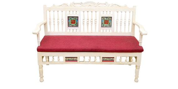 Buy Modern Living Room Two Seater Sofa with Dhokra and Warli Work in ...