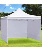 Portable Heavy-Duty Gazebo with Side Cover in White Colour