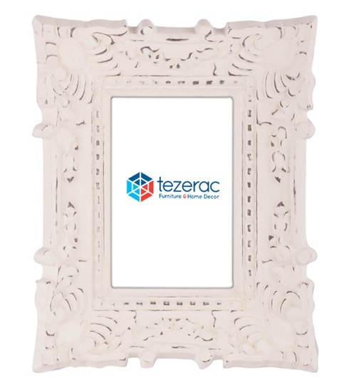 Buy 10.5 x 1.8 x 8.5 Inch Bloom Solid Wood Photo Frame in White ...