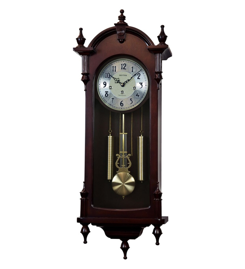11.6 x 5.1 x 31.5 Inch Wall Clock Volume Control Case Pendulum Clock by Rhythm