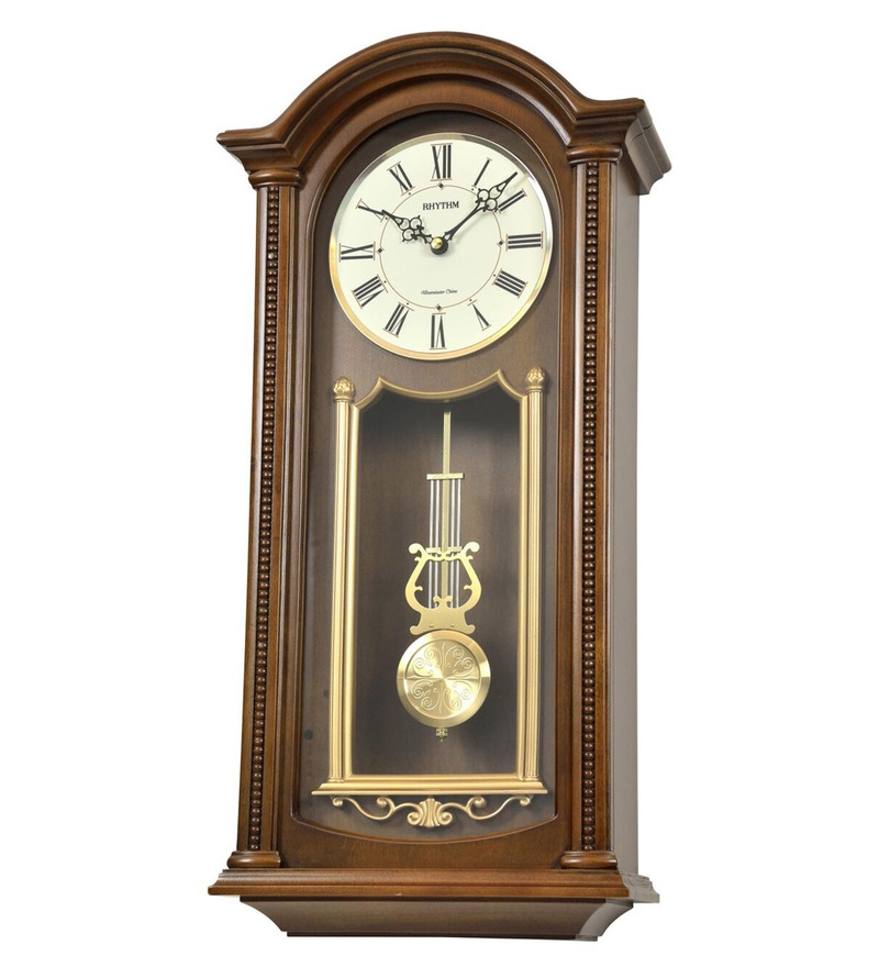 11.9 x 5.1 x 24 Inch Wall Clock Volume Control Case Pendulum Clock by Rhythm
