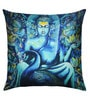 13 Odds Blue Poly Taffeta 16 x 16 Inch Classic Buddha with Peacock Print & Embroidery Cushion Cover