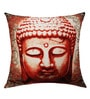 Red & White Poly Taffeta 16 x 16 Inch Classic Buddha Face Print & Embroidery Cushion Cover by 13 Odds