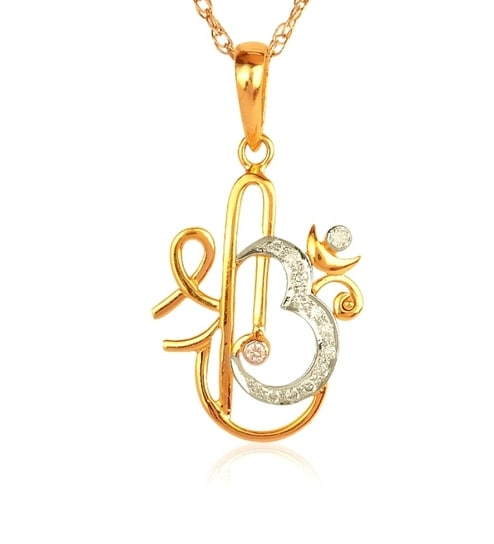 14k yellow gold shri om diamond pendant by tls jewels online 14k yellow gold shri om diamond pendant mozeypictures Image collections