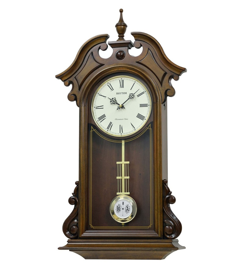 14.4 x 4.5 x 27.8 Inch Wall Clock Volume Control Case Clock by Rhythm