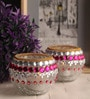 Multicolour Glass Tea Light Holder - Set of 2 by Gupta Glass Gallery