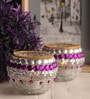 Multicolour Glass Tea Light Holder - Set of 2 by Gupta Glass Gallery