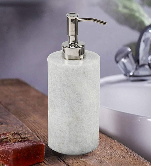 200 Ml Marble Counter Top Liquid Soap Dispenser In White By Chic Home