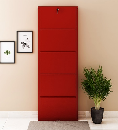 24 Inches Five Door Powder Coated Wall Mounted Metallic Shoe Rack in Brick Red colour by