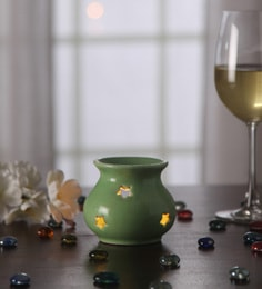 Gupta Glass Gallery Green Metal Tea Light Holder - 1566078