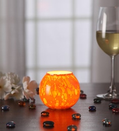Gupta Glass Gallery Orange Metal Tea Light Holder