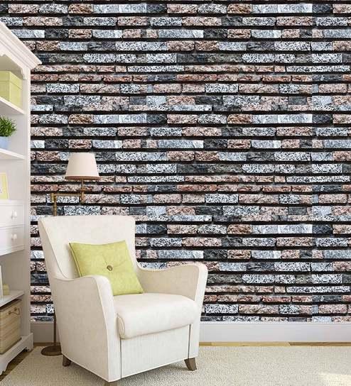 3D Bricks Theme Printed Off White Peel & Stick Self Adhesive Wall Paper-  26 7 Sqft by 100yellow