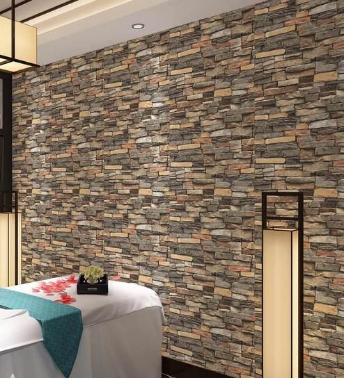 Grey 3d Stone Tile Pattern Design Wallpaper By Konark Decor