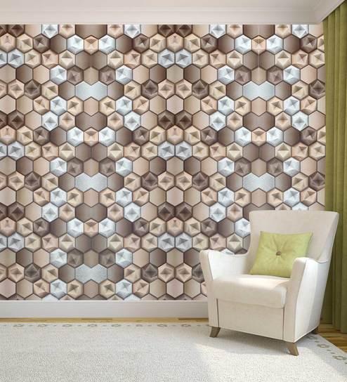 Brown Gold 3d Geometrical Design Wallpaper By Konark Decor