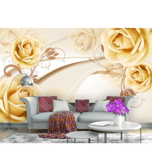 3D Golden Flower Non Woven Paper 17x10 Feet Wallpaper by 999Store