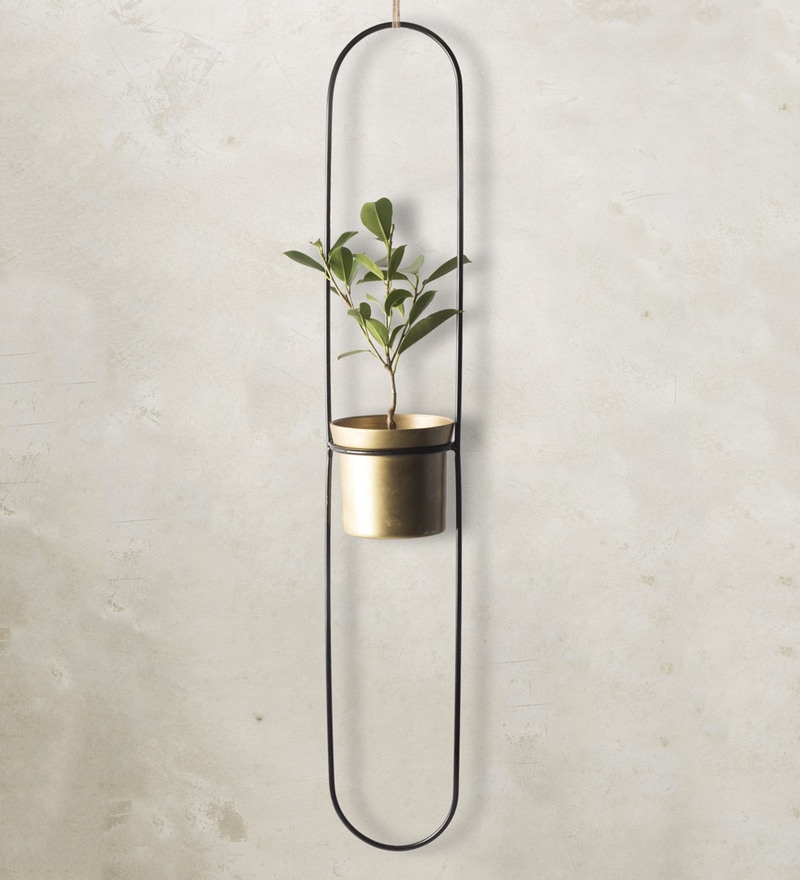 4.5 x 4.5 x 20 Inch Hunes Aluminium & Iron Planter in Gold Finish by Tezerac