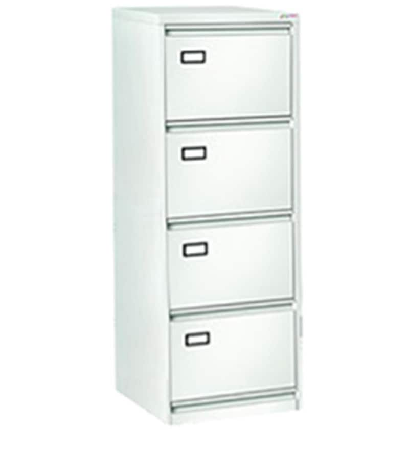 Four Drawer Vertical Filing Cabinet in White Finish by Godrej ...