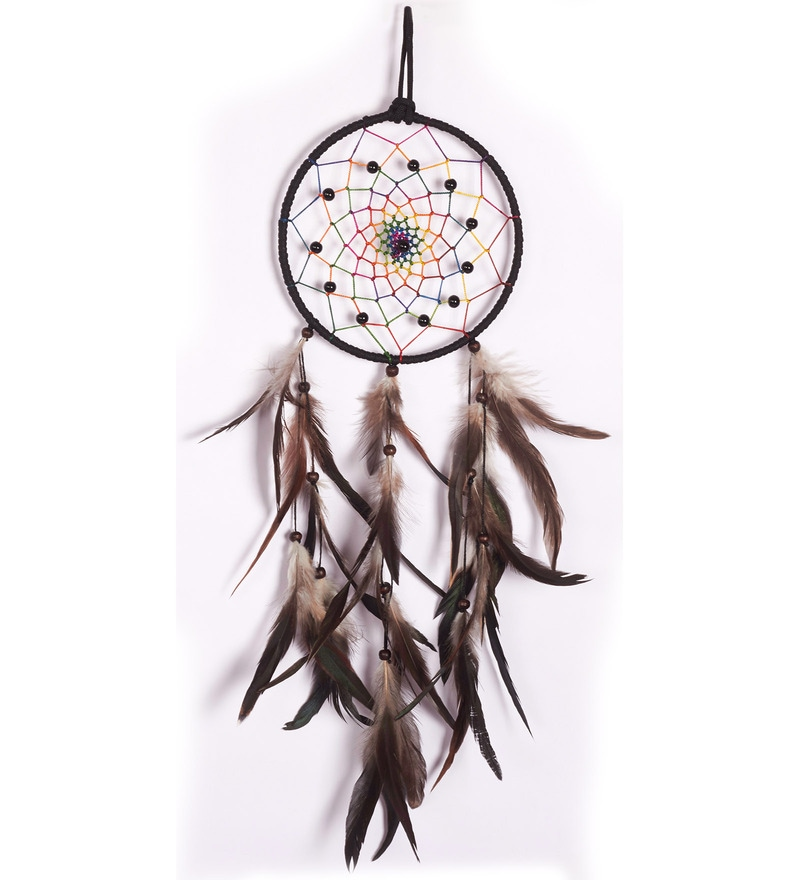 6 x 6 x 17 Inch Donets Feathers & Threads Wall Hanging in Multi Color by Tezerac