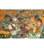 64Arts Canvas 24 x 16 Inch Krishna Wooing Radha by Kerala Mural Art Unframed Digital Art Print
