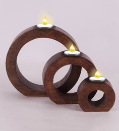 8 X 2 X 7.5 Inch Hamden Solid Wood T-Light Holder Set Of Three In Walnut Finish
