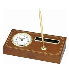 9.1 X 2.2 X 4.5 Inch With Name Card Holder & Pen Stand Table Clock