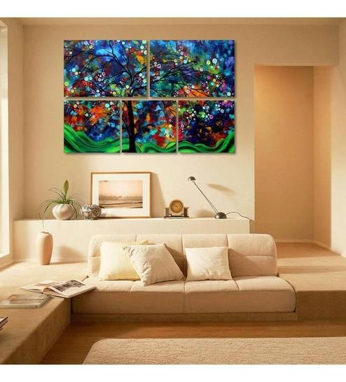 999 store 5 frame colorful tree design like modern wall art painting on sun board material
