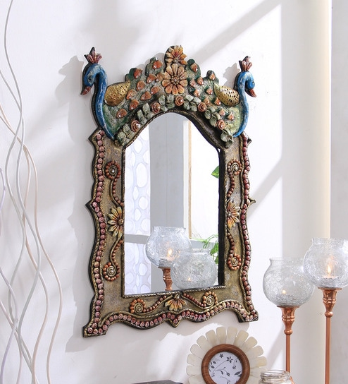 Buy Peacock Crown Top Wall Mirror by 999Store Online ...