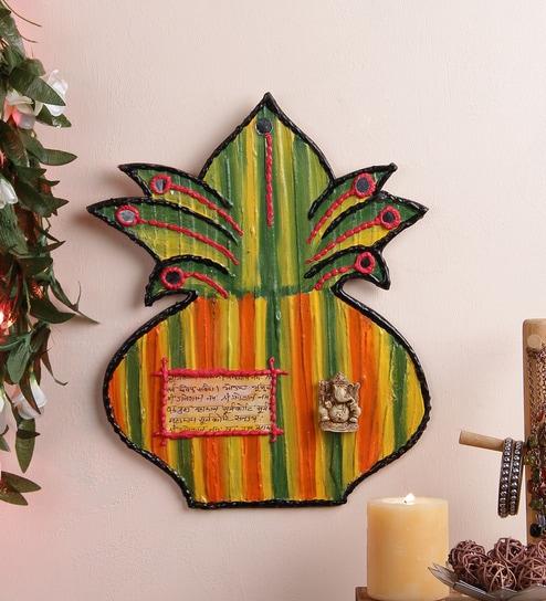 Buy 999store Multicolour Wooden Handmade Craft Decorative Kalash