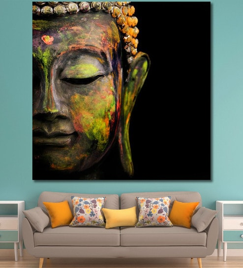 Greatest Buy Cotton Canvas 60 x 0.4 x 60 Inch Colourful Buddha Painting  TY01