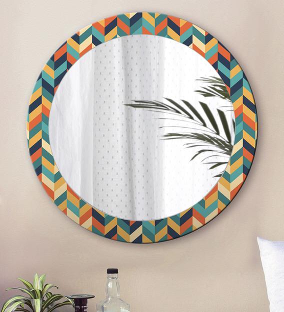 Engineered Wood Round Wall Mirror, Round Mirror Wall Decor Wood