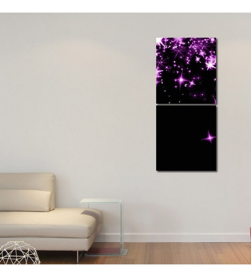 Sun Board 15 x 17 Inch Purple Stars In Sky Durable Painting - Set of 2 by 999Store