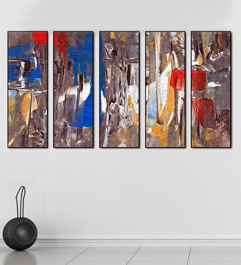 Buy Fibre 59 x 0.8 x 30 Inch Abstract Framed Art Panels - Set of 5 ...