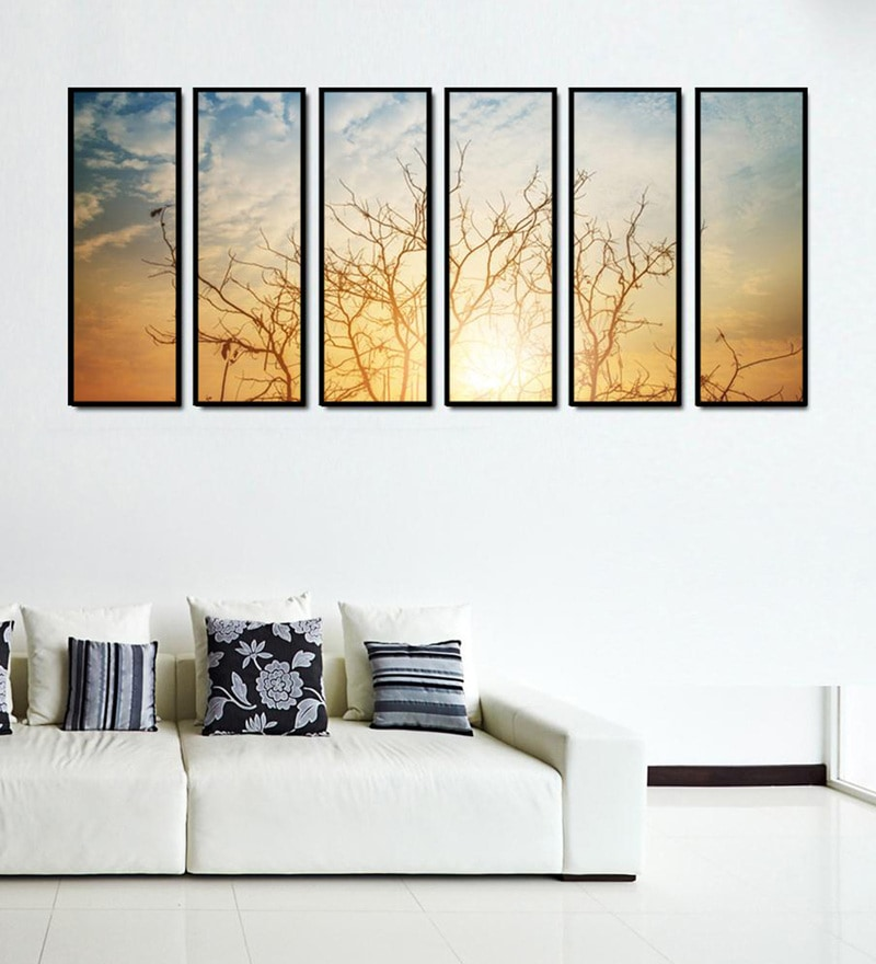 Fibre 70 x 0.8 x 30 Inch Silhouette Trees At Sunrise Framed Art Panels - Set of 6 by 999Store