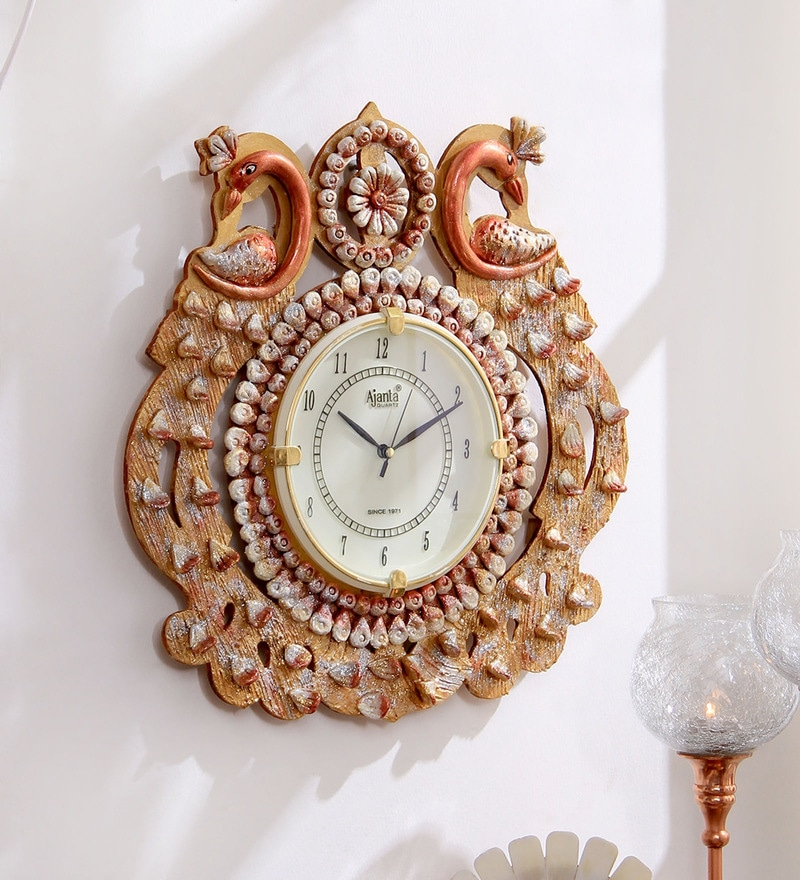 e0a9959303 Buy Gold Finish Wood Wall Clock by 999Store Online - Indian Ethnic ...