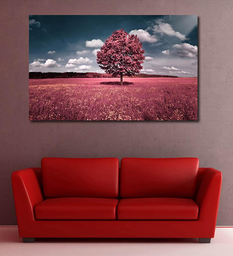 Vinyl Pink Field Wall Sticker by 999Store